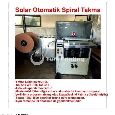 Used Solarco Automatic Spiral Binding year of 2010 for sale, price 12500 EUR EXW (Ex-Works), at TurkPrinting in Wire and Spiral Binding Machines