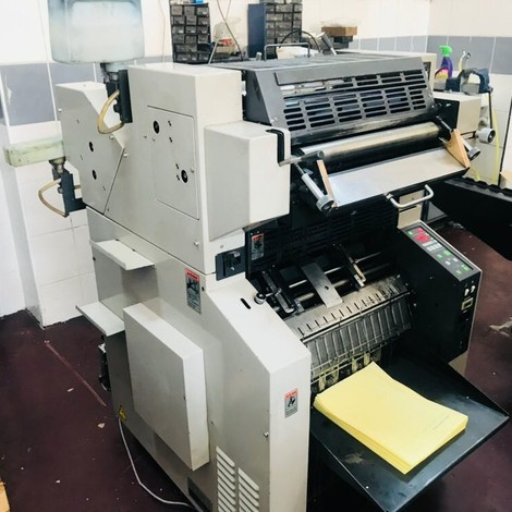 Used Ryobi 4502 MCS Continuous Form printing Machine for sale. Can be seen in our warehouse
