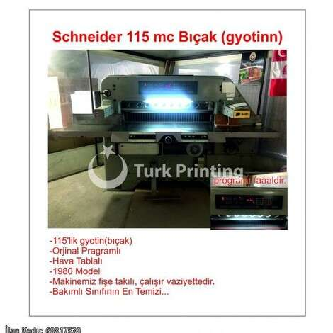 Used Schneider 115 mc Paper Knife year of 1980 for sale, price 11500 EUR, at TurkPrinting in Paper Cutters - Guillotines