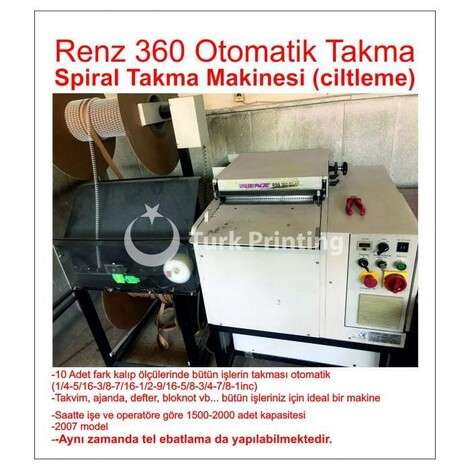 Used Renz 360 Auto Install Spiral Inserting Machine (binding) year of 2007 for sale, price 16500 EUR, at TurkPrinting in Wire and Spiral Binding Machines