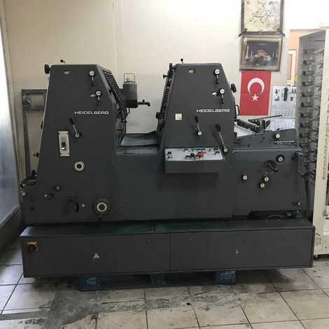 Used Heidelberg GTOZ-52/2 NP two colors offset printing machine for sale. 1991 YEAR 2 COLOR