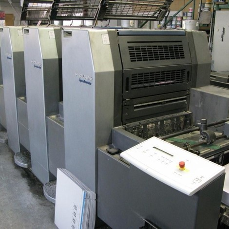 Used 2001 HEIDELBERG Speedmaster SM 52-4 four color offset printing machine for sale. Available Immediately.