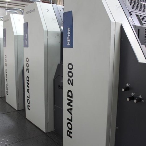Satılık ikinci el 2008 model Roland R 205 EOB HiPrint beş renkli ofset baskı makinesi. Autosize, Extras: Autoplate,